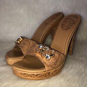 Stuart Weitzman cork / wood jeweled studded heels